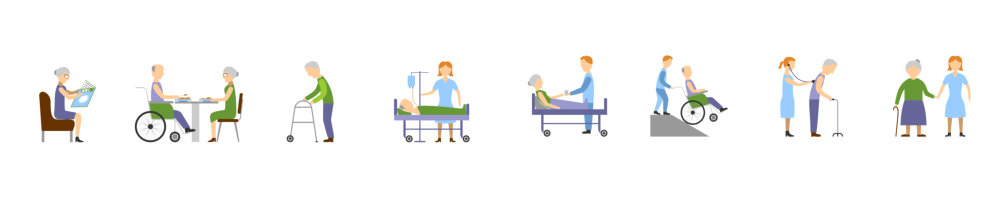 vector illustration of nurses taking care their patients